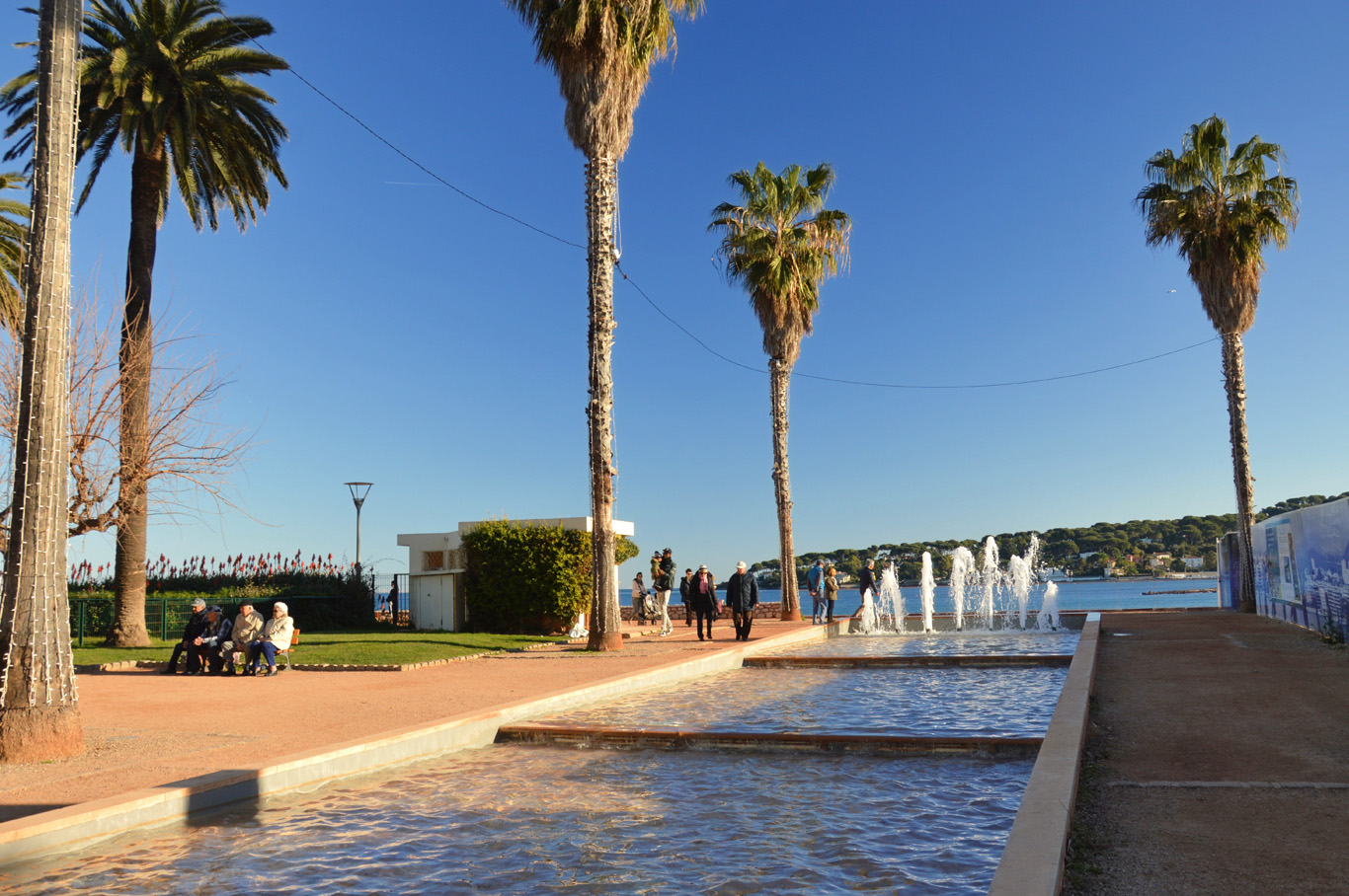 Along the promenade