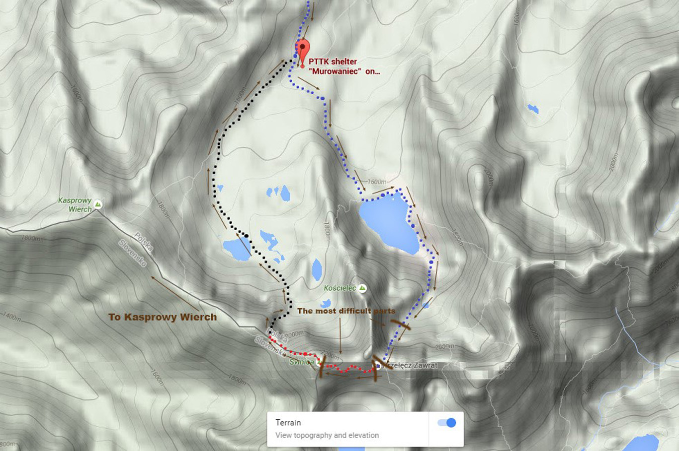 Screenshot of a detailed map of the entire trek - the color represents the color of the actual trail