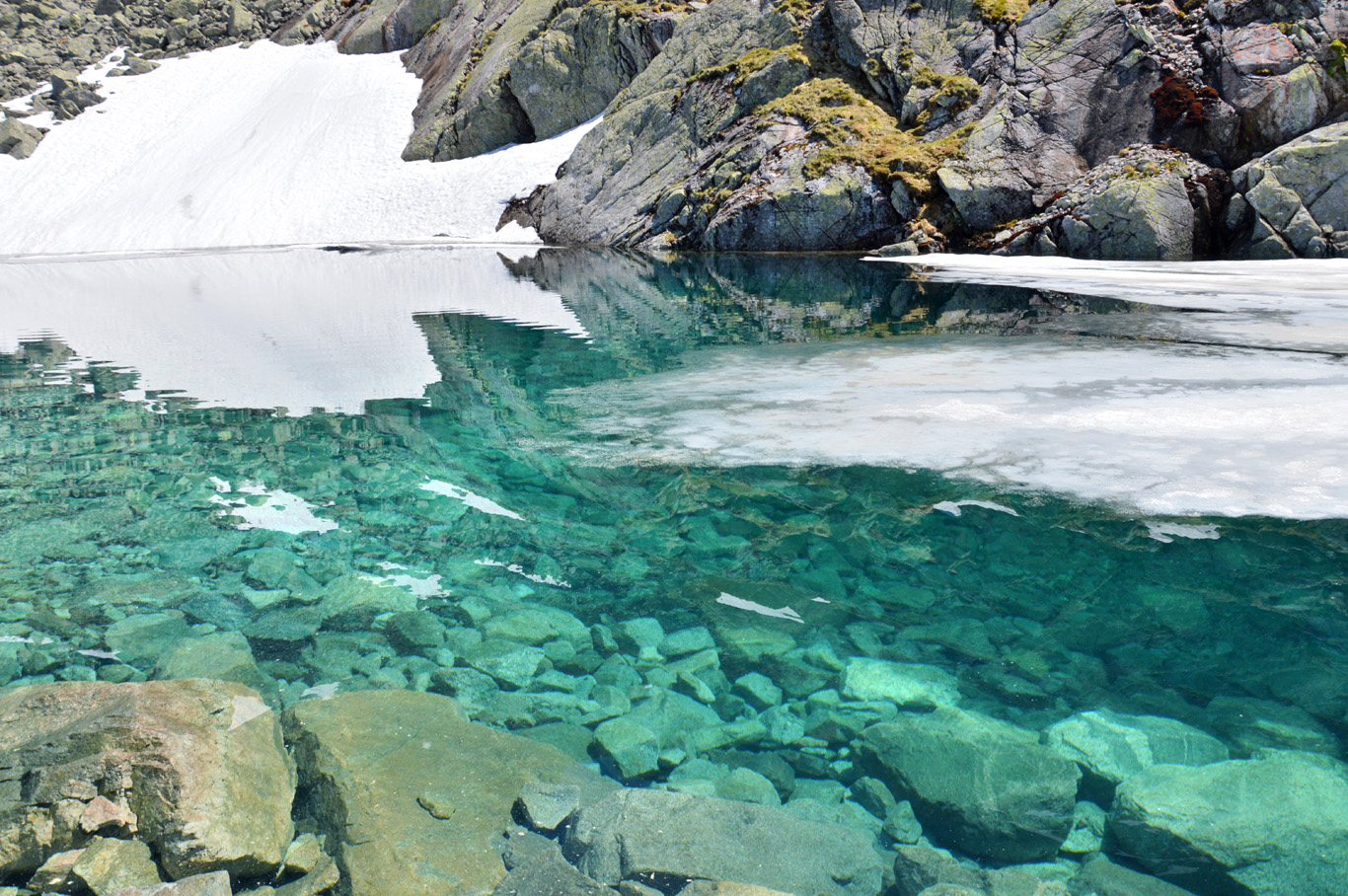 Crystal clear water of Zadni Staw