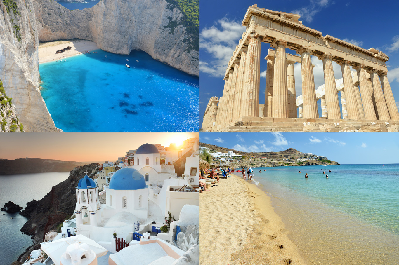 Greece: the Shipwreck beach, the Acropolis, sunset in Santorini and a beach in Mykonos