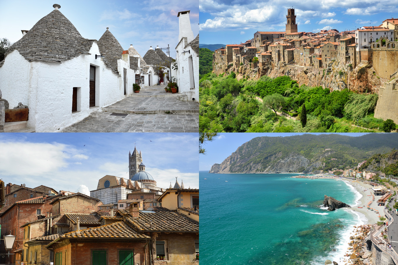 Italy: village of Alberobello, town of Pitigliano, Siena and a beach in Cinque Terre