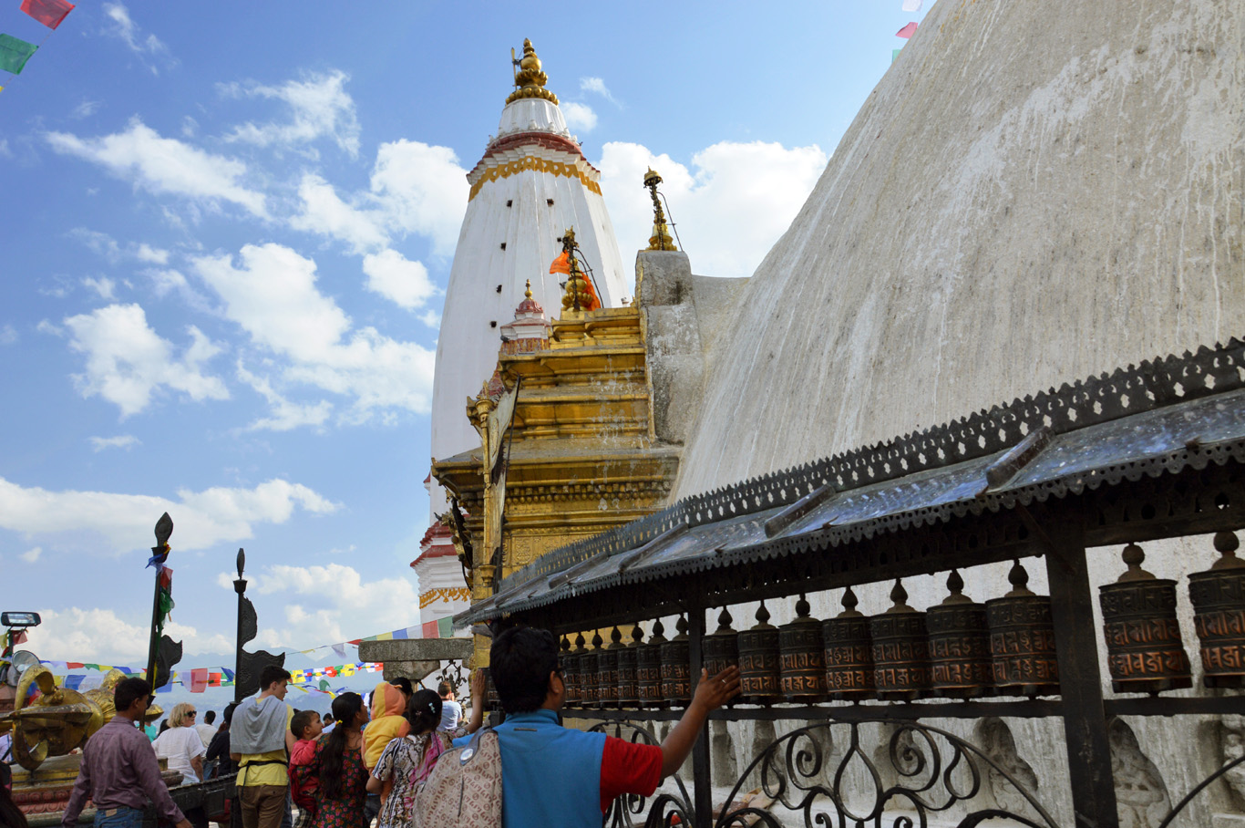 Prayer wheels at Swayambhu Stupa