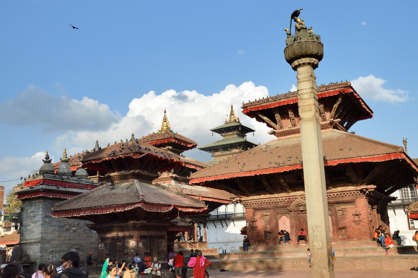 Kathmandu Durbar square:Indrapur Temple (left) and Vishnu Temple (right)