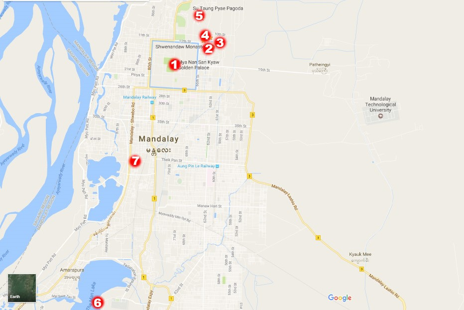 The screenshot of the map of the attractions we've seen, 1-5 you can easily visit on foot
