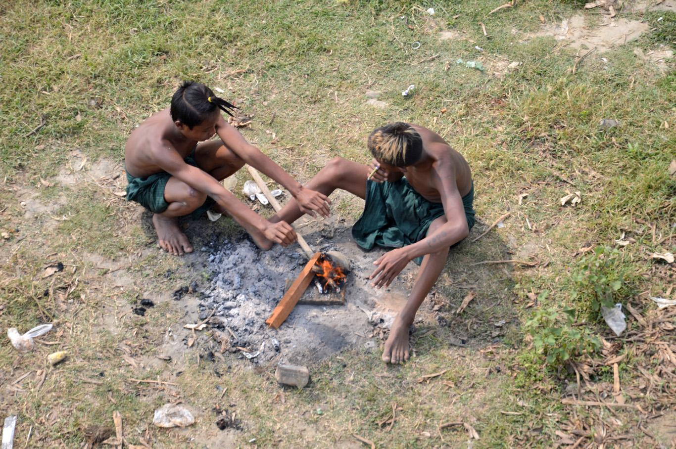 Local boys having a smoke