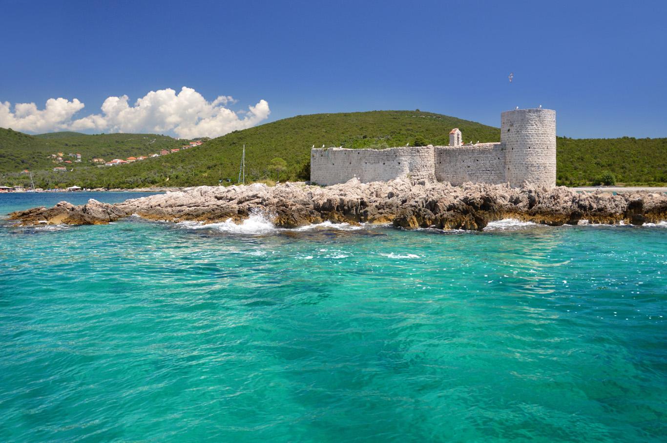 Ruins of Vavedenja Presvete Bogorodice Monastery on a tiny island