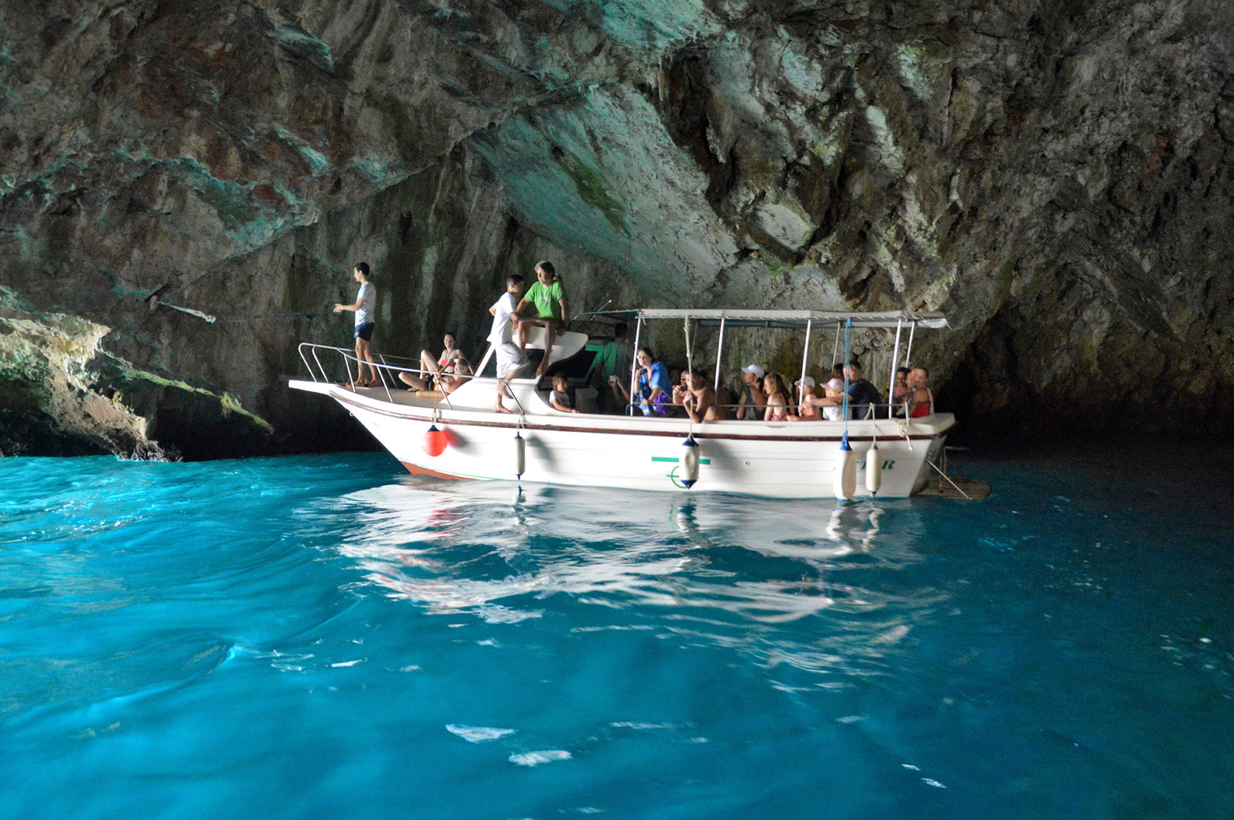 A boat in the Blue Cave