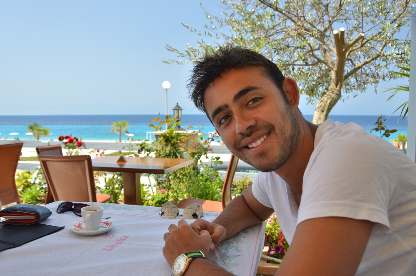 At the local restaurant in Dhermi