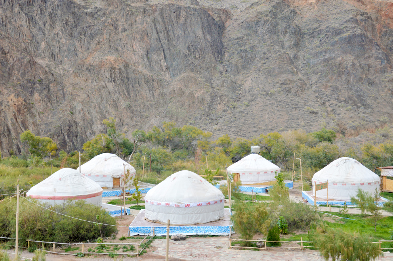 The yurts in the canyon