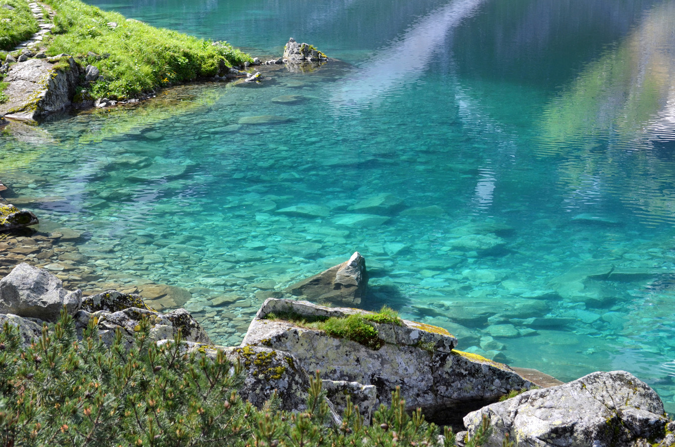 Turquoise water in Czarny Staw