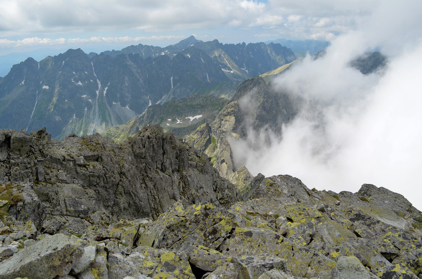 Slovakia - to the left and Poland, covered in clouds -to the right