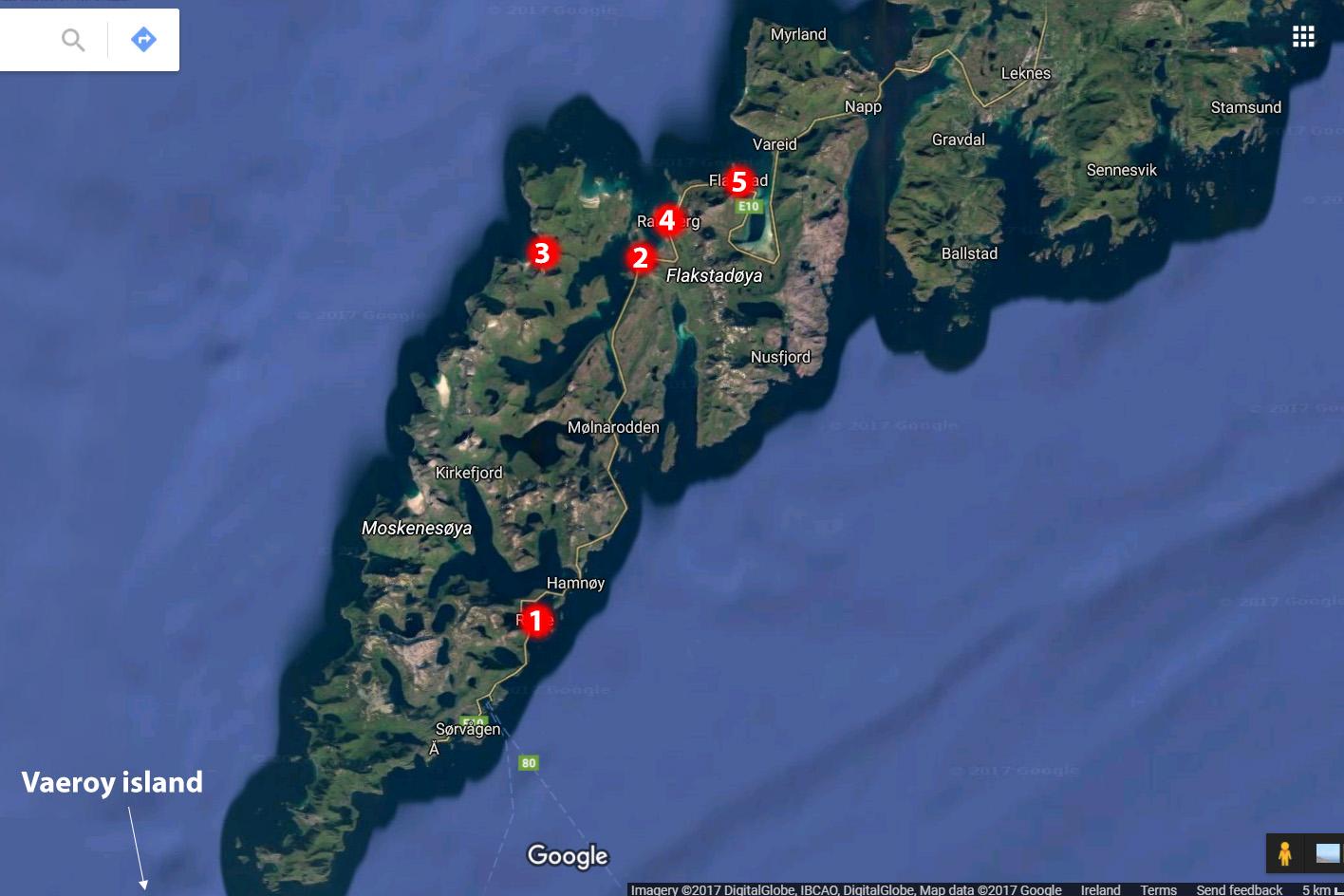 Lofoten map - Moskenesoya and Flakstadoya islands