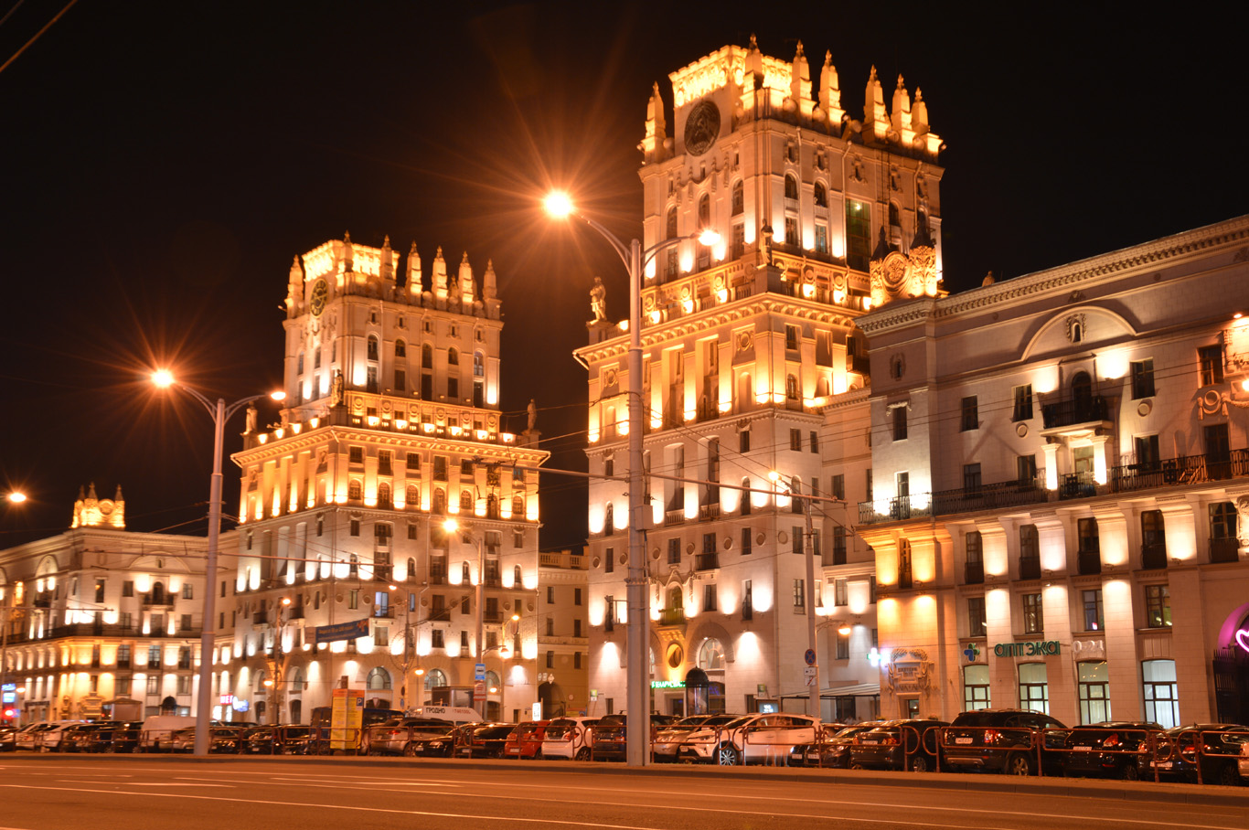 """Stalinist architecture - """"city gate"""" - opposite the train station"""