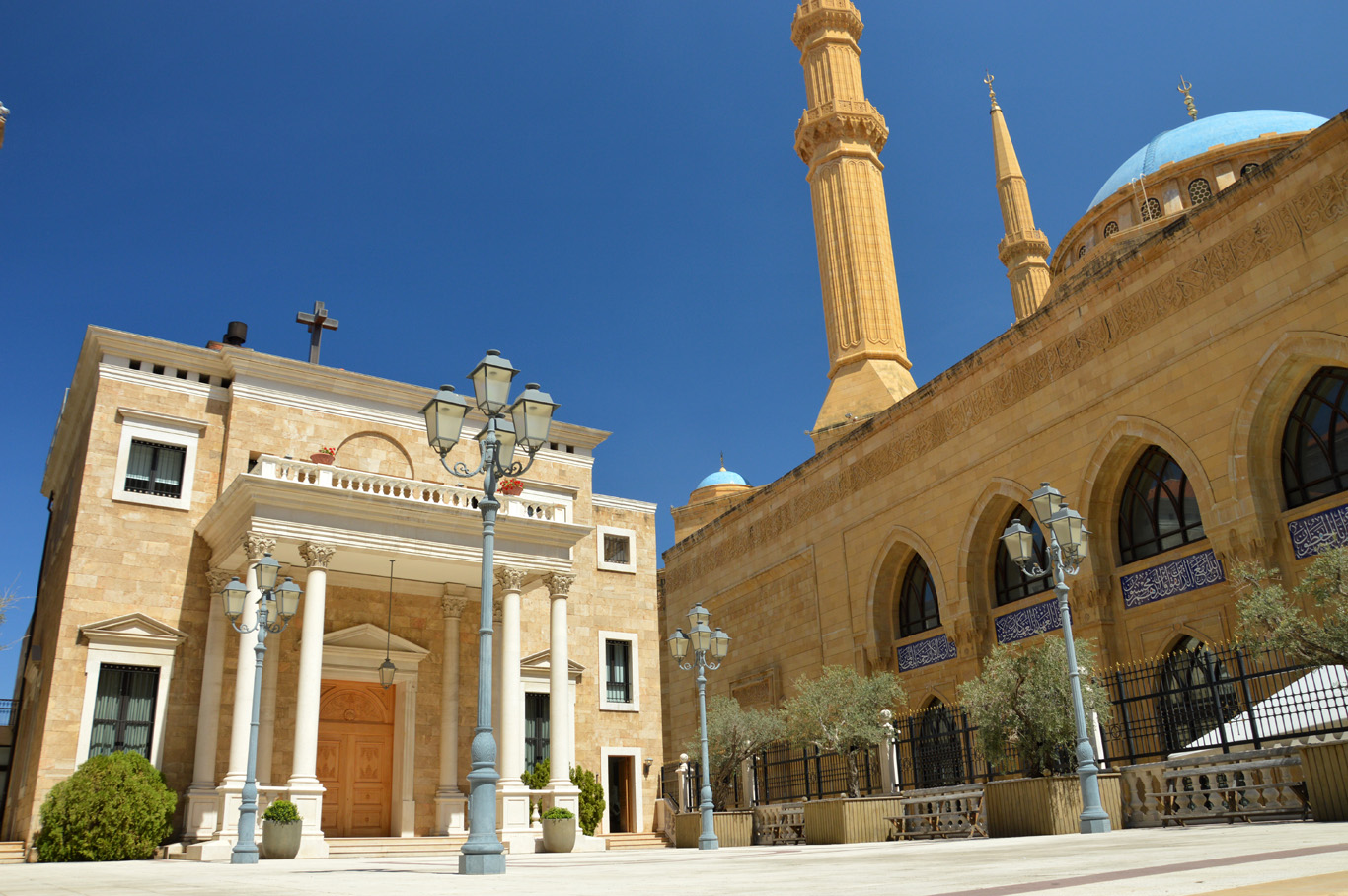 The chapel of St. George Maronite Cathedral right next to the mosque