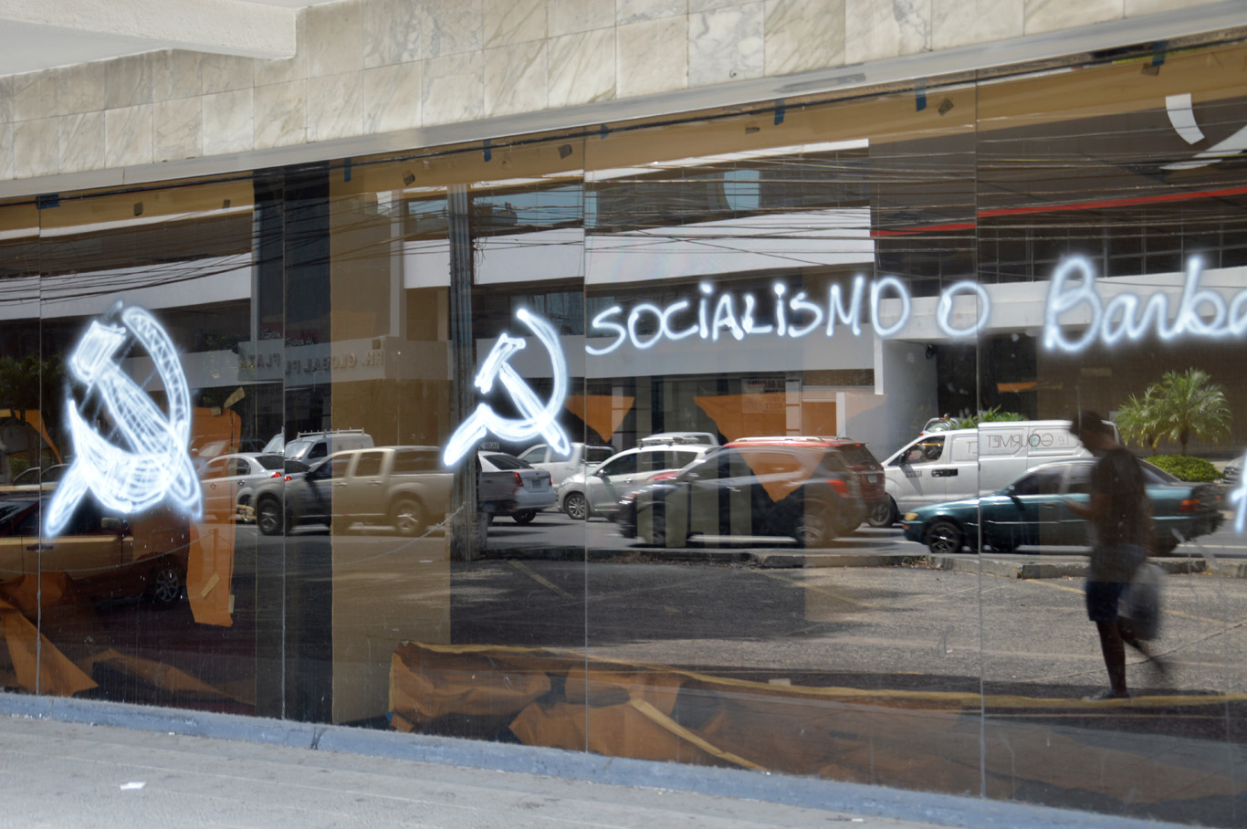 Socialism is barbaric - graffiti on one of the glass buildings