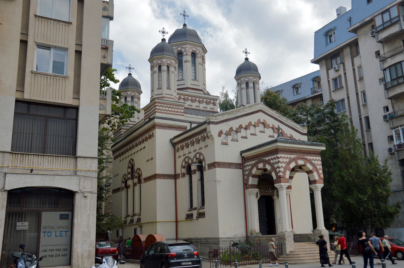 A typical sight - a church in between blocks