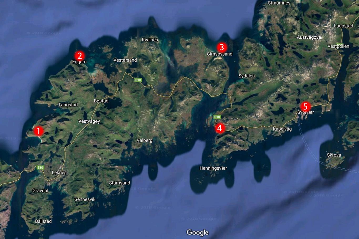 Lofoten map - Vestvagoy, Gimsoya and Austvagoya