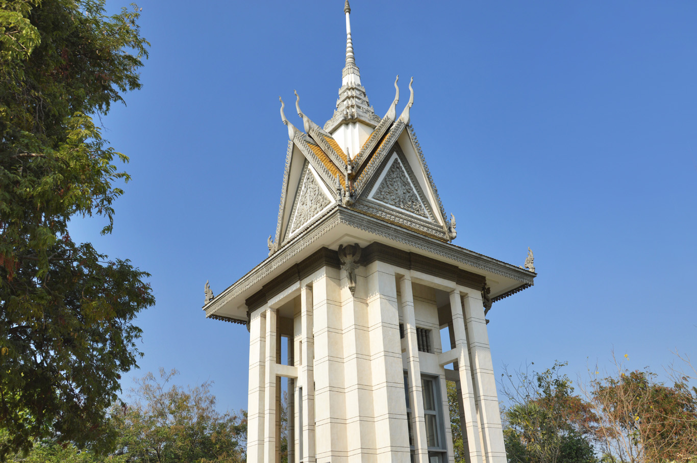 The Killing Fields shrine - filled with skulls and bones of the victims