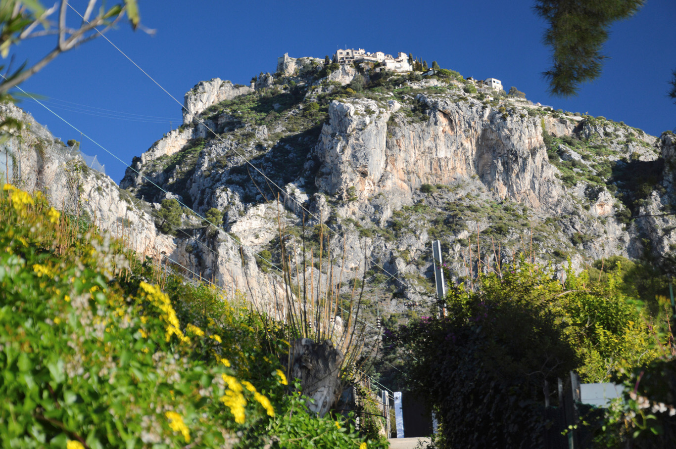 At the train station - Eze is on top of the hill