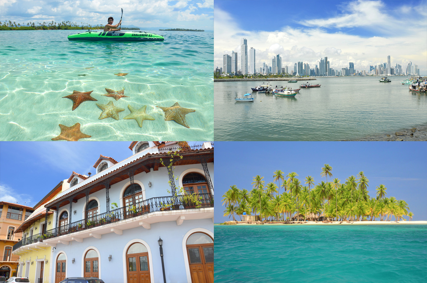 From left to right: Starfish in San Blas, skyscrapers in Panama City, Old town in Panama City and one of the paradise islands in San Blas archipelago