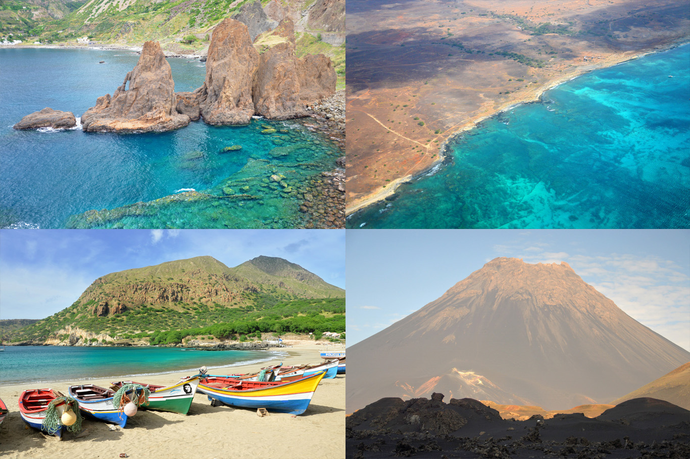 From left to right: Cliffs in Brava, the aerial view of Sal island, boats in Santiago and the volcano peak in Fogo