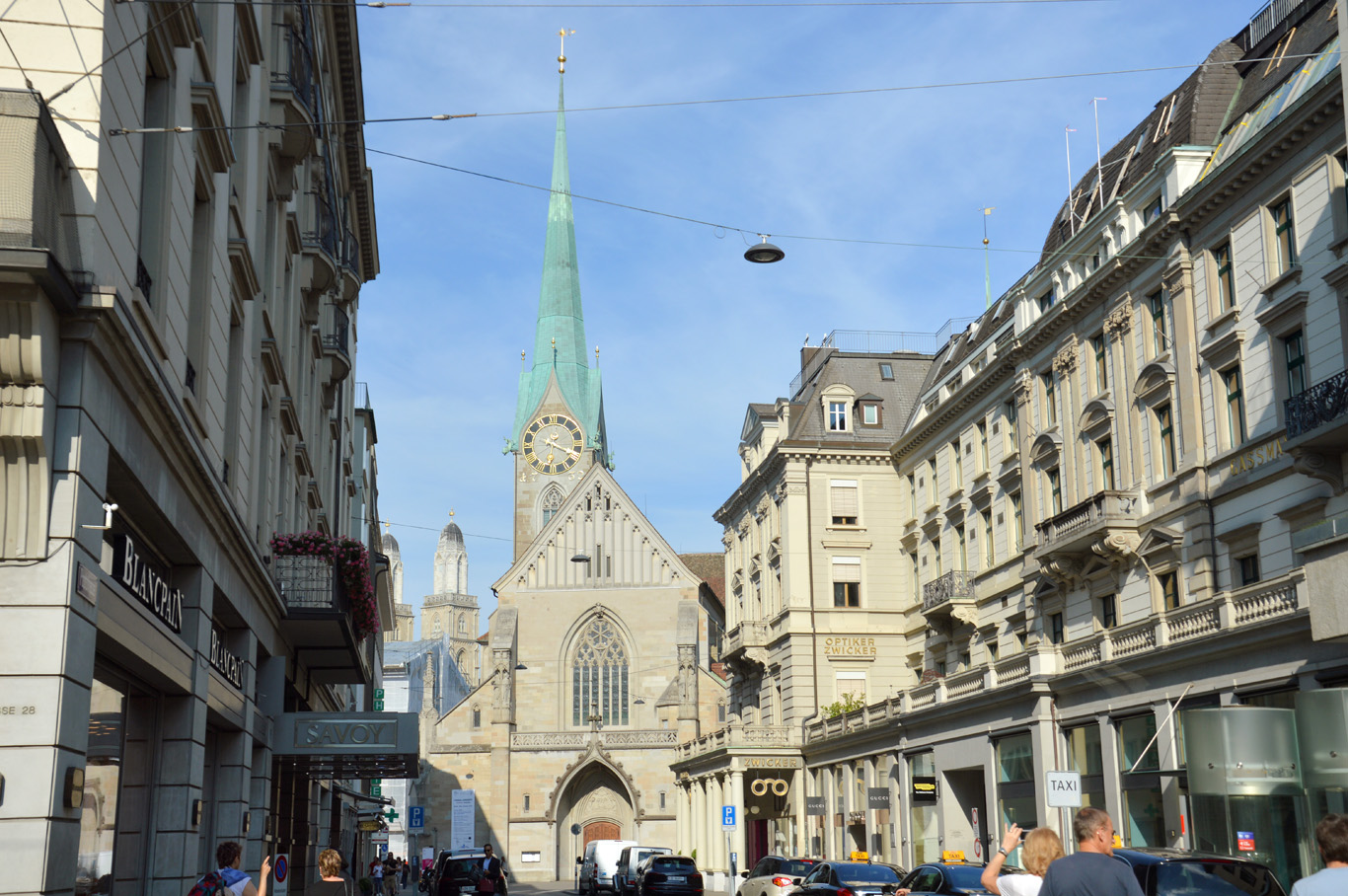 Bahnhofstrasse - the main two churches seen in the background