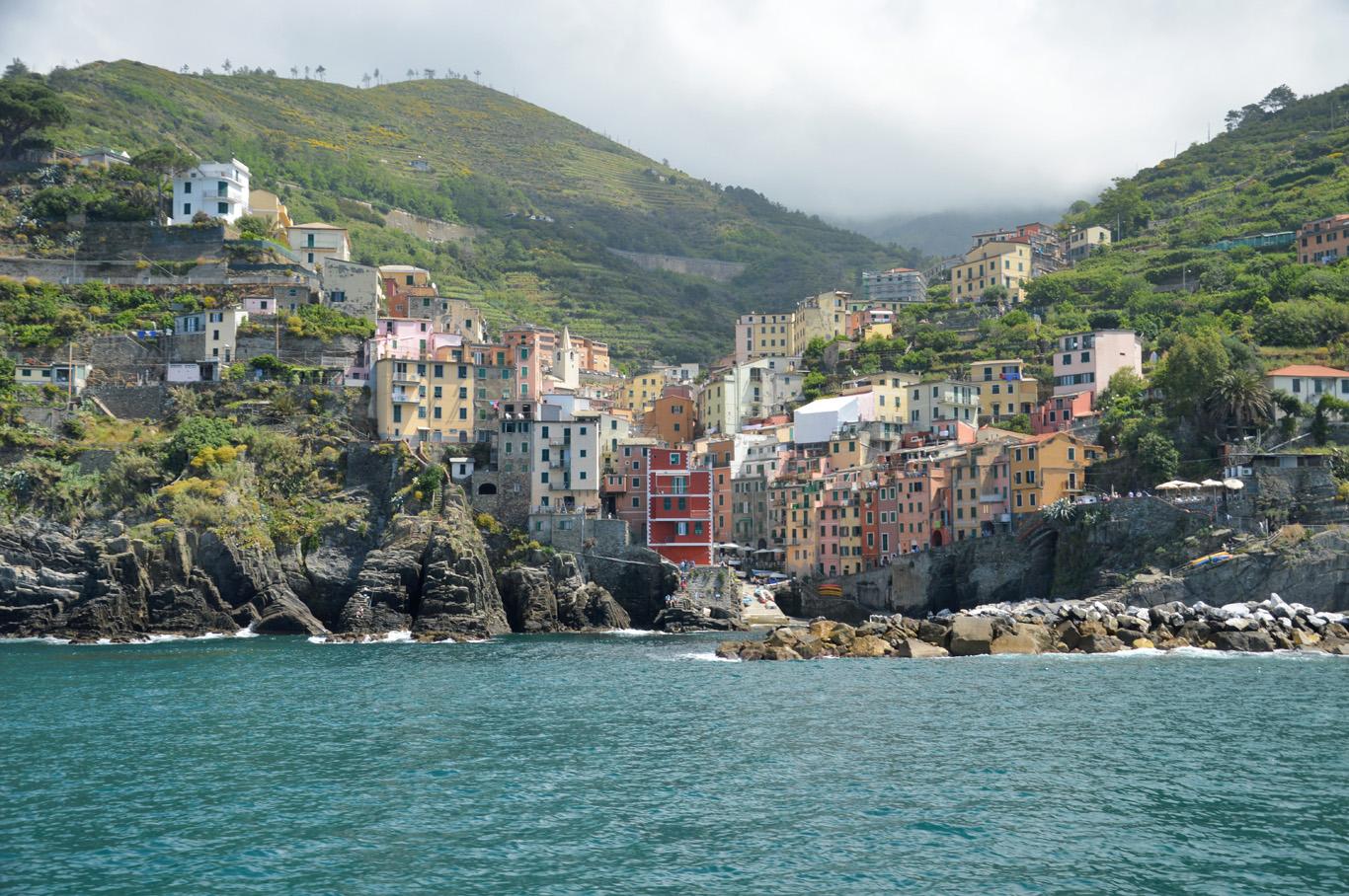 Riomaggiore seen from the boat