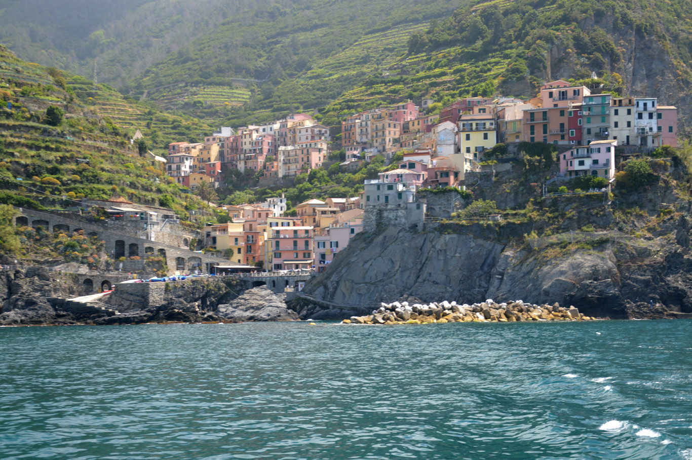 The second village of Manarola seen from the boat (number 3 on the map)
