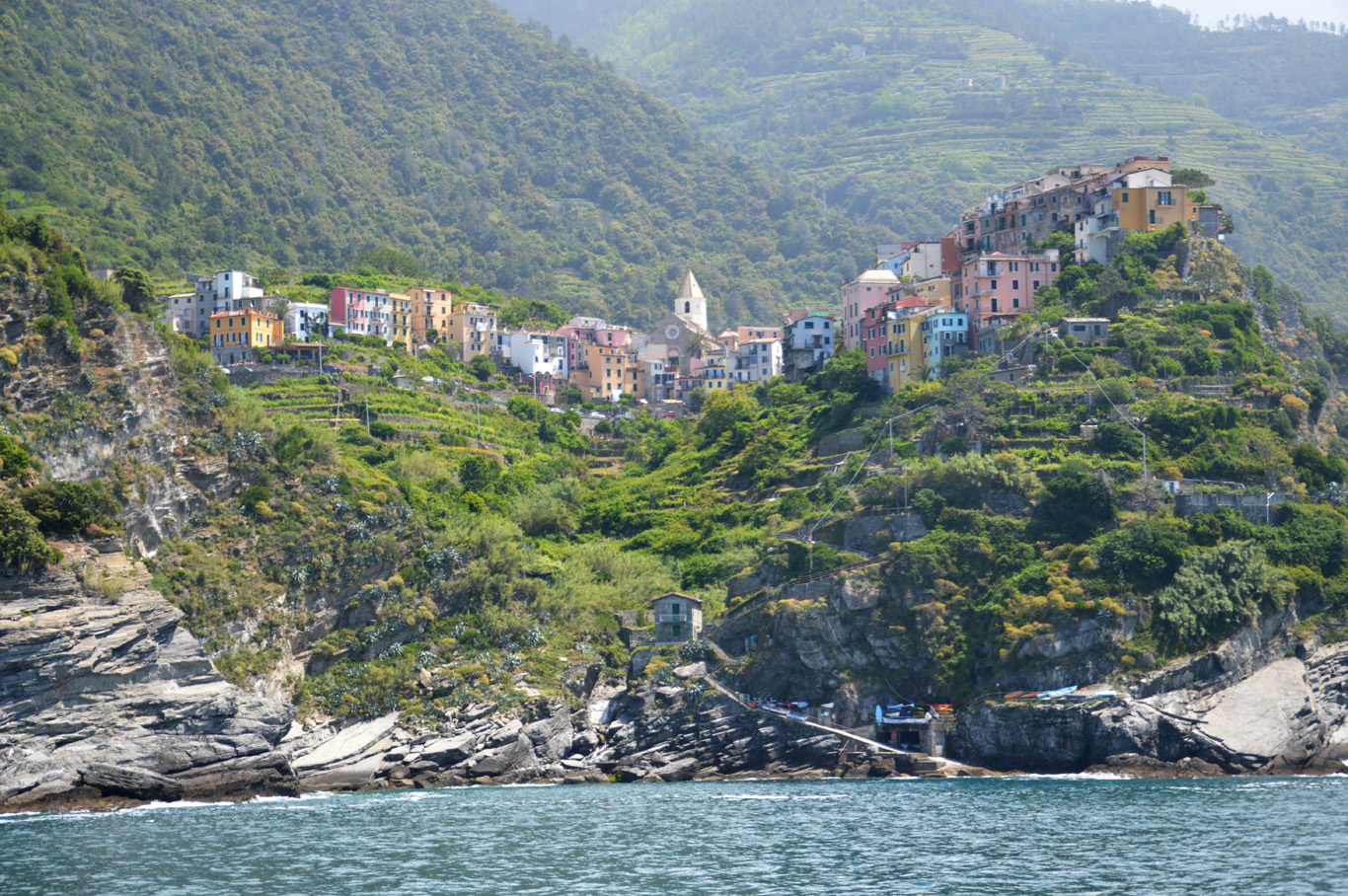 The third village - Corniglia seen from the boat (number 4 on the map)
