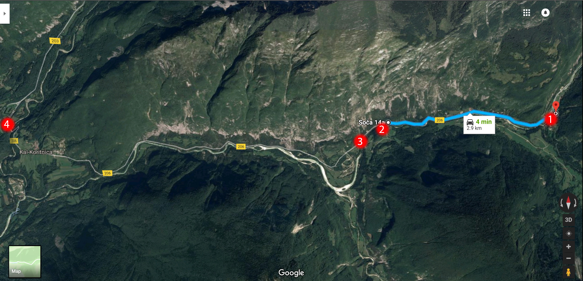 1. Vas na Skali bus stop, Mala Korita (small gorge), the bridge and car park at the camp, 2. Velika Korita (great gorge) and the car park at Soca 14a, 3. Bus stop at Lepena, 4. Bovec. The blue trail indicates the drive from the small to the great gorge. You can also walk this trail along the river - it's beautiful and will take around 30 minutes.