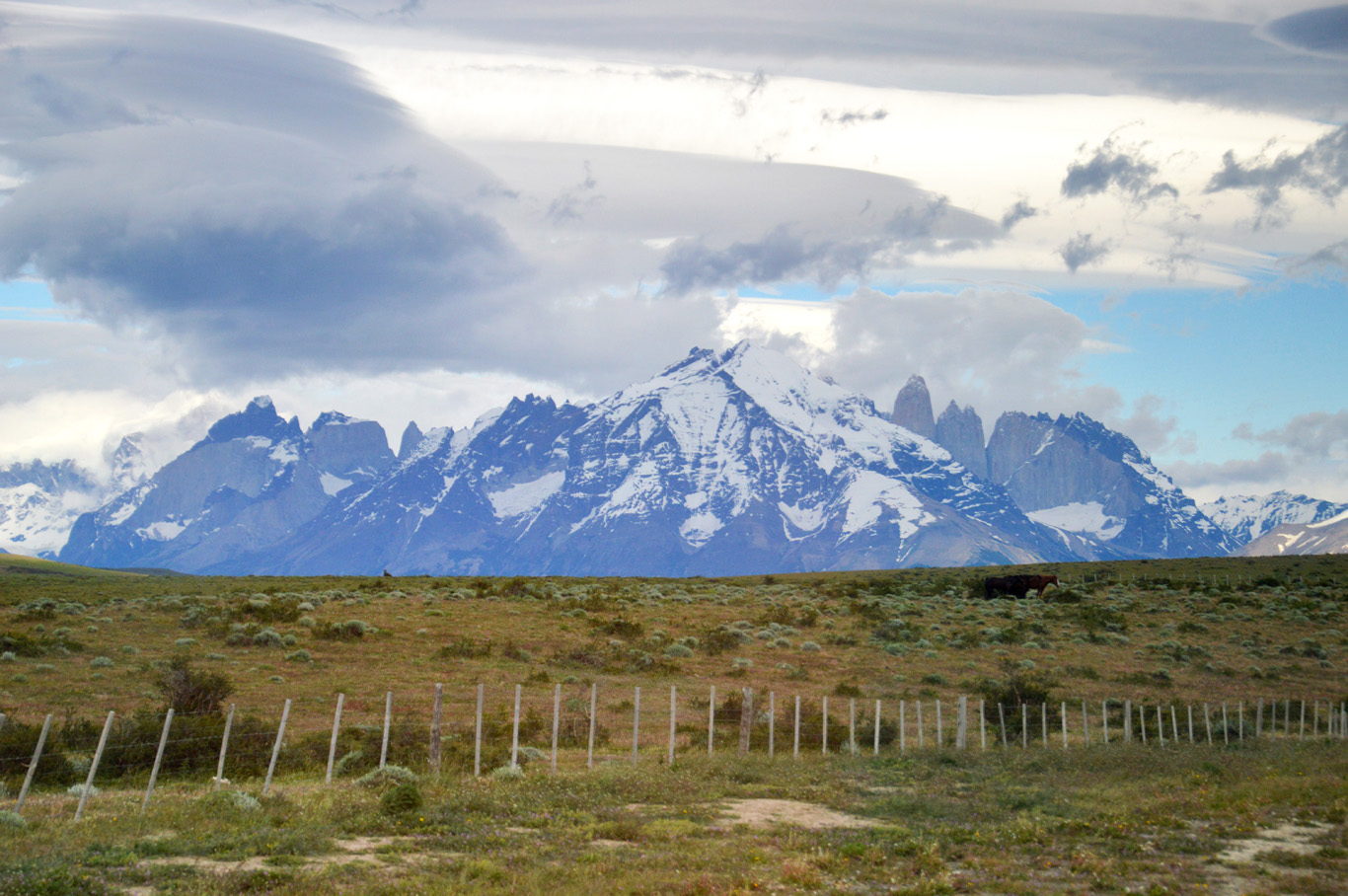 Approaching Torres del Paine National Park - a view from the bus