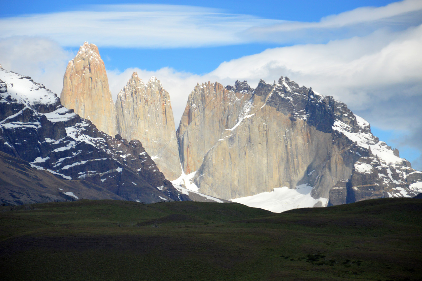 The three towers of Torres del Paine seen from the Amarga Entrance - we saw them closely on the last, third day