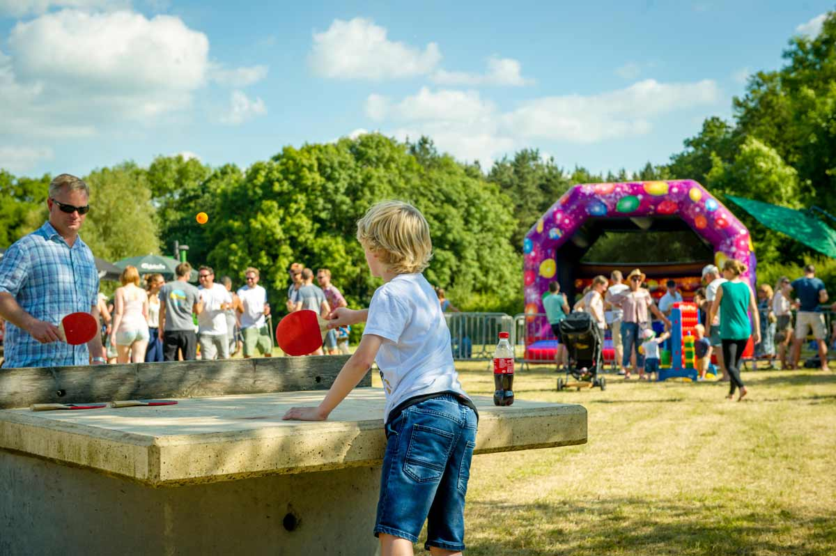 Table tennis, face painting, chalk wall and a bouncy castle for children at Blackpit Brewery
