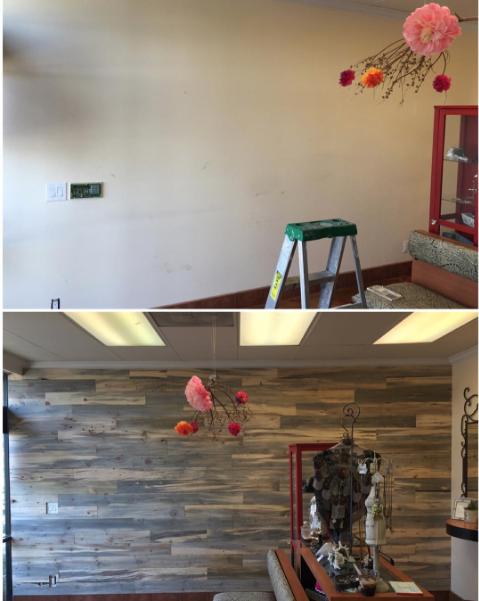 Reclaimed Wood Wall   Avanti Salon  5130 E Colorado St, Long Beach