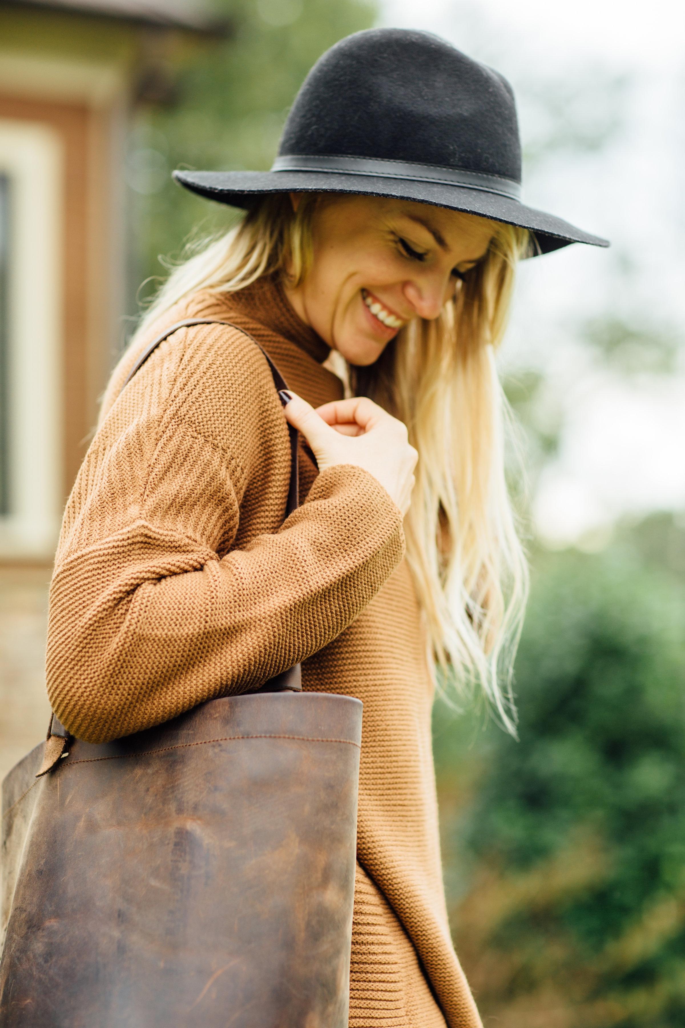 Jillian Edwards in the Scotland Sweater in camel (shop in our store!)