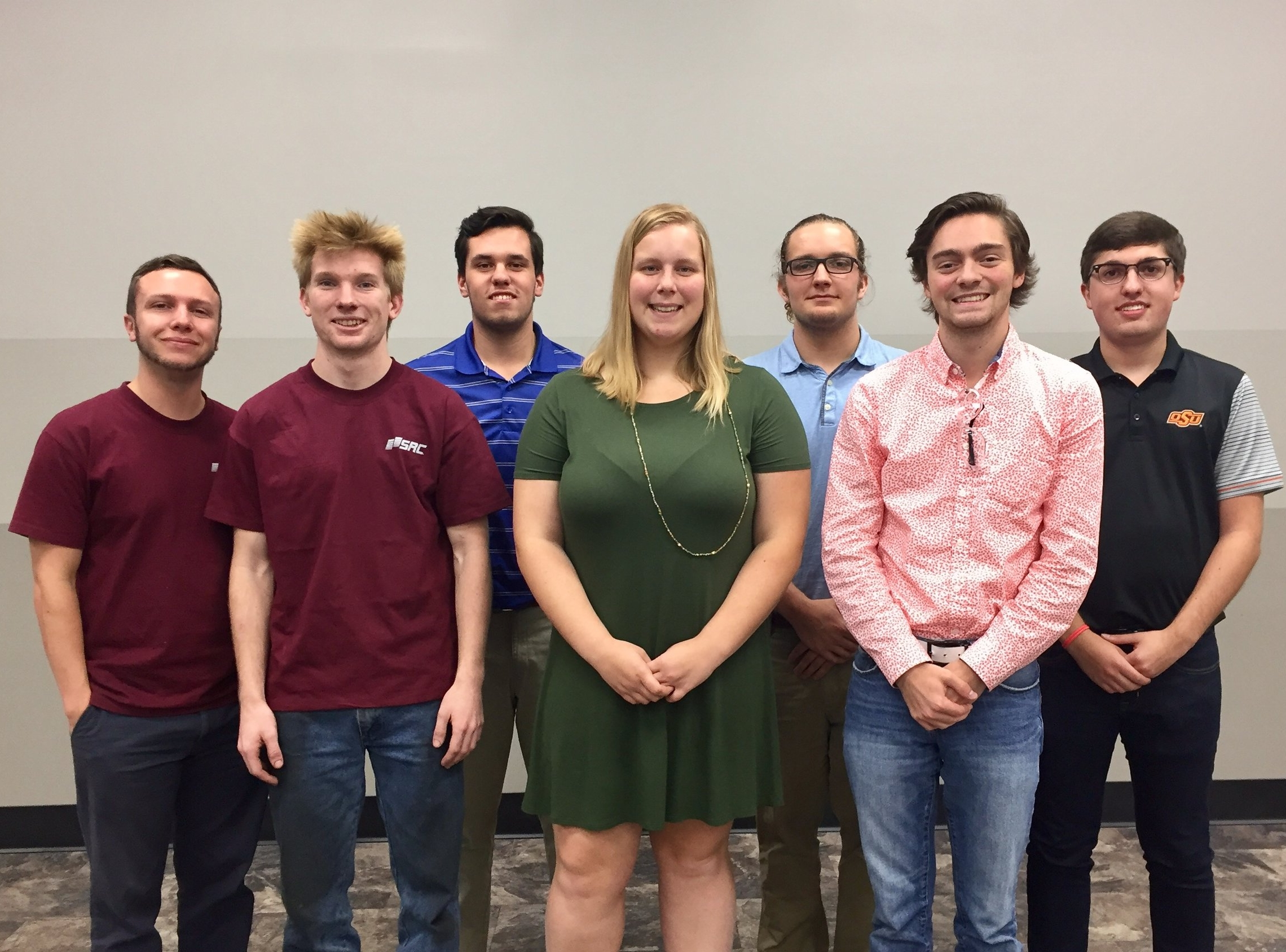 Springfield Remanufacturing Corp.'s Heavy Duty Interns presented their summer projects to their superiors on August 4, 2017. Back row: Colton Chastain (Human Resources), Peyton Stauffer (Accounting), Westin Easley (Engineering), Logan Kunkel (Supply Chain). Front row: Bailey Fletcher (Engineering), Katlyn Maas (Engineering), Tommy Giovanni (Accounting).