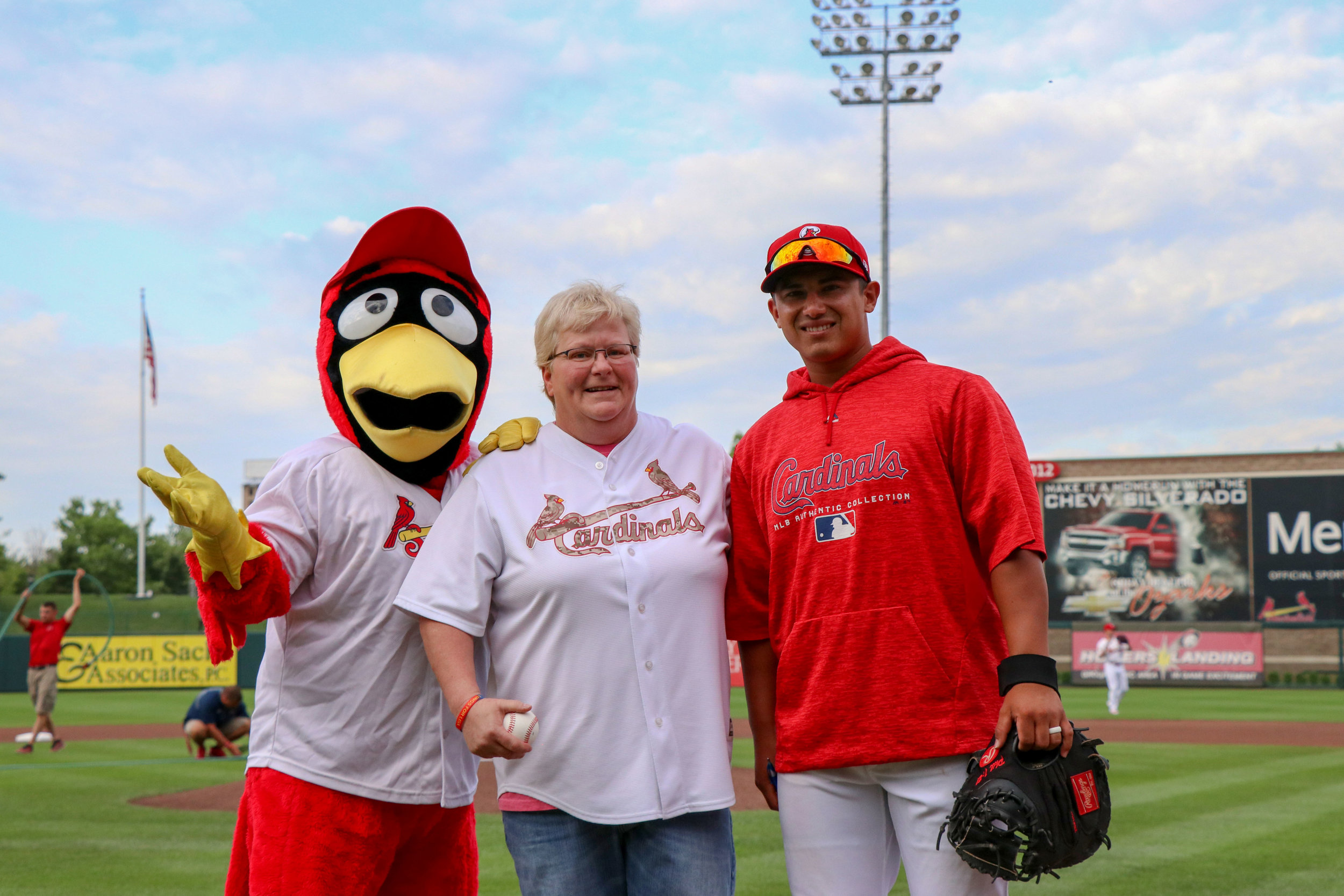 Tanya Stites, SRC Electrical, was selected to throw out the first pitch for her outstanding efforts and performance in the implementation of SRC Electrical's new ERP software system.