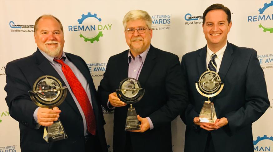 2018 Remanufacturing ACE Award Winners (from left to right): John Disharoon, Caterpillar Inc. (Advocate Award), Donald Chenevert Jr., SRC Holdings Corporation (Collaborate Award), Dr. Matthew Hudson, Ozarks Technical Community College (Educate Award).