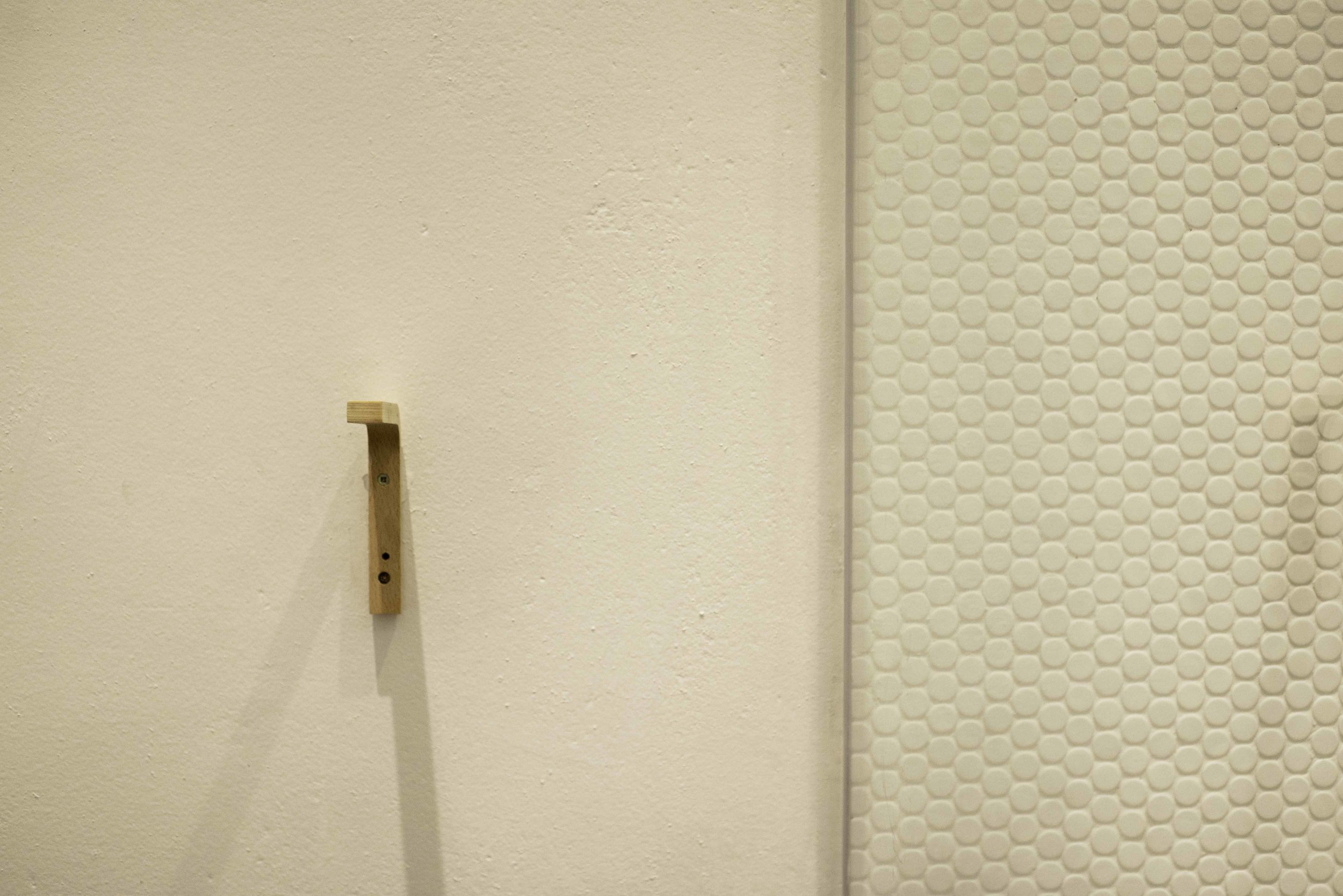 Toilet roll holder and shower wall detail
