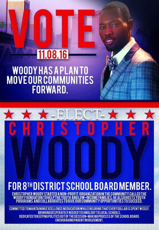 Christopher Woody is the founder of the Woody Foundation which works to improve the quality of life for inner city youth. Christopher Woody is running for School Board in the 8th District.