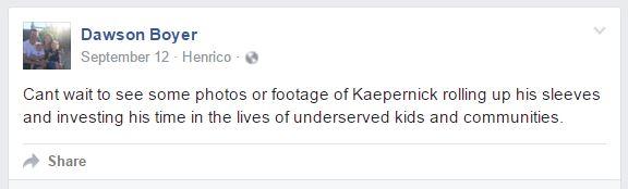 Screenshot from Dawson's Facebook of his public status.