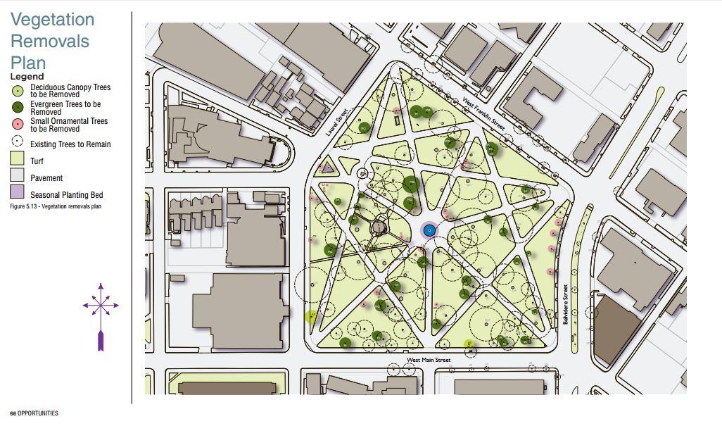 Monroe Park Master Plan Vegetation Removals Plan.
