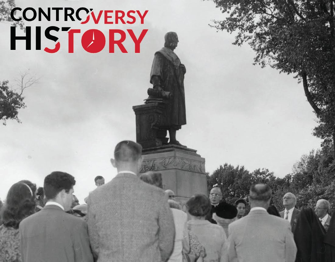 """Did you know the Columbus statue in Byrd Park was erected in response to anti-Italian immigrant sentiment in the region? Yet another statue whose story may not be as it seems.  Photo Credit: V.60.38.01, """"In Honor of Columbus"""", Richmond Newspapers, Inc., October 12, 1959"""