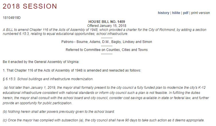 House Bill 1409 patroned by Delegate Jeff Bourne