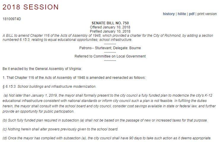 Senate Bill 750 patroned by Senator Glen Sturtevant