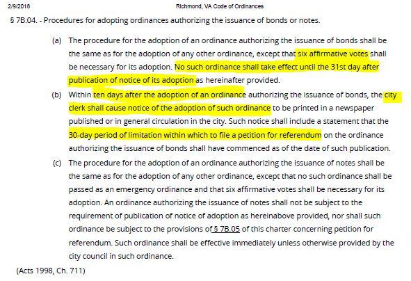 7B of City Charter regarding issuance of bonds