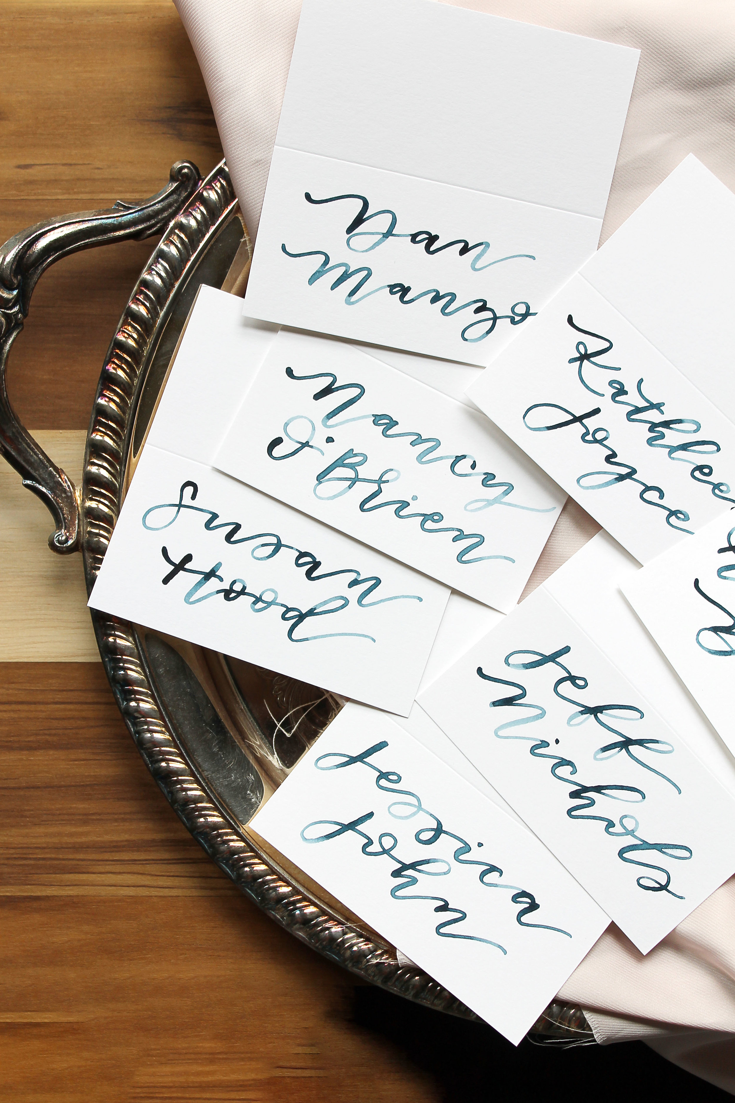 Brush Watercolor Calligraphy Place cards