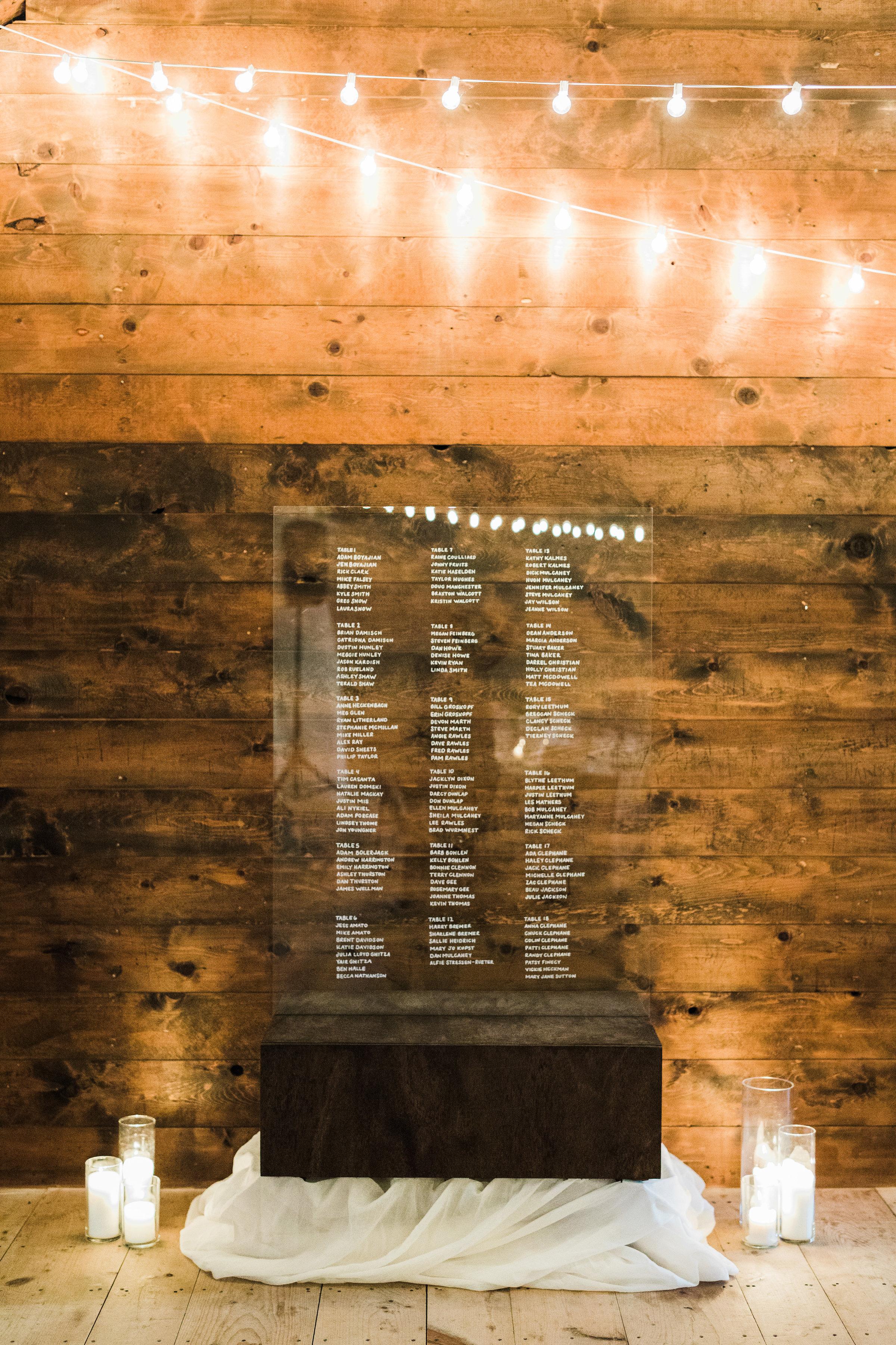Wedding Glass Seating Chart