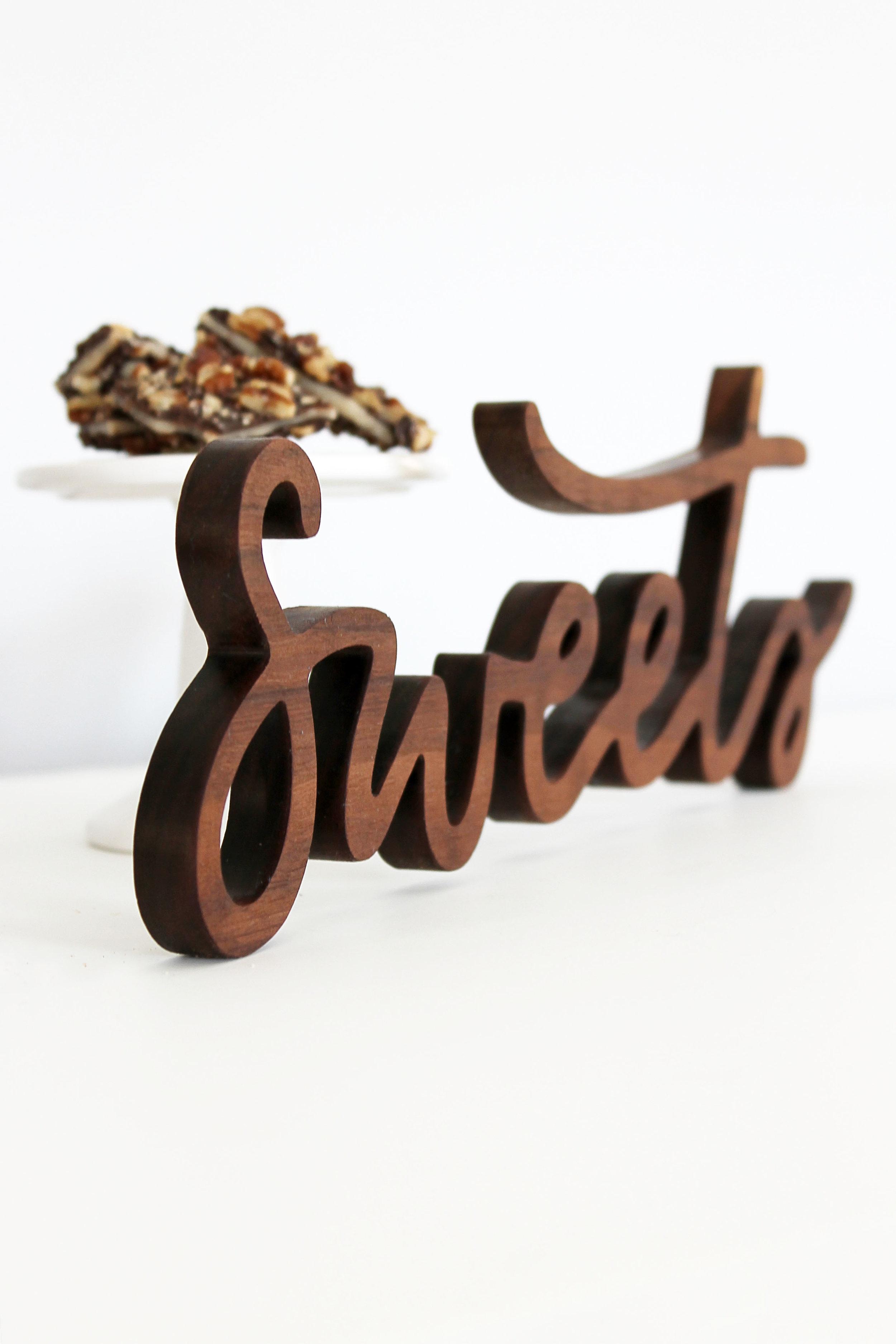 Wooden Cutout Dessert Sign