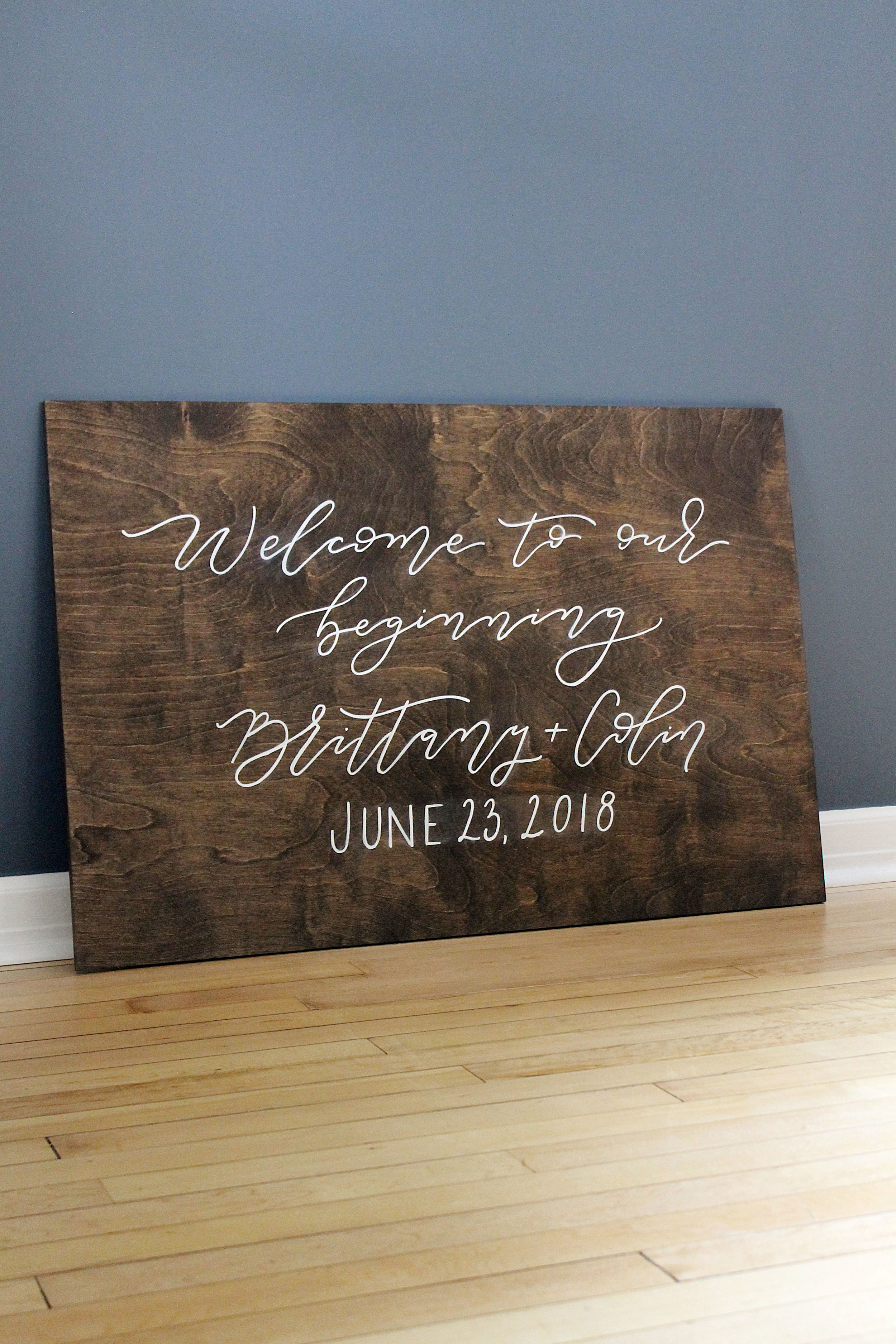 "Wooden ""Welcome to our Beginning"" Welcome Sign"